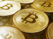 Golden Bitcoins. New virtual money Royalty Free Stock Image