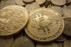 Golden Bitcoins On Euros Royalty Free Stock Image