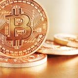 Golden Bitcoins Royalty Free Stock Photos