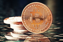 Golden Bitcoins Royalty Free Stock Photo