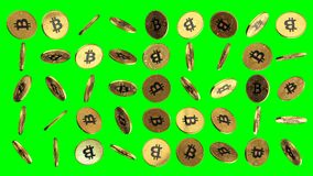 Golden bitcoins rotating grid on greenscreen stock video footage