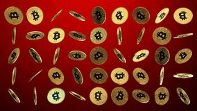 Golden bitcoins rotating grid on red background stock video