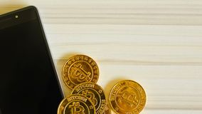 The golden Bitcoins  virtual currency coin image idea for such as background stock footage