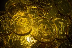 The golden Bitcoins  virtual currency coin image idea for such a Royalty Free Stock Image