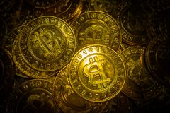 The golden Bitcoins  virtual currency coin image idea for such a Royalty Free Stock Photo