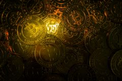 The golden Bitcoins  virtual currency coin image idea for such a Stock Images