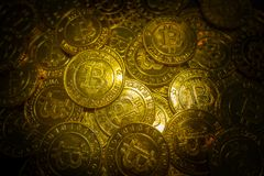 The golden Bitcoins  virtual currency coin image idea for such a Royalty Free Stock Photography