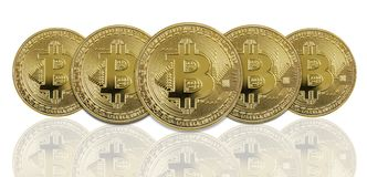 Golden bitcoins on white background Royalty Free Stock Photos