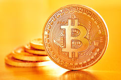Golden Bitcoins Stock Photo