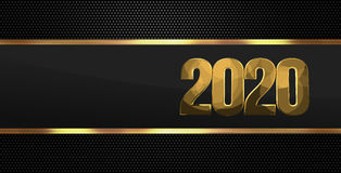 2020 golden black background. Illustration graphic Royalty Free Stock Images