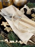 Golden and black Christmas Table Setting. With christmas decorations royalty free stock photography