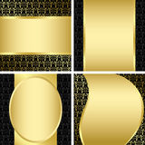 Golden and black decorative cards - vector set Stock Photography