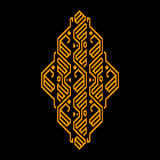 Golden and black ethnic geometric ornament, vector Royalty Free Stock Photography