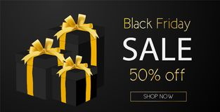 Black Friday sale. Golden Black Friday sale banner for e-mail or e-commerce use. Vector Stock Images