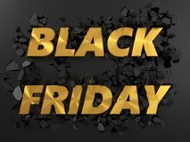 Golden black friday text and exploding background. 3d illustration. Royalty Free Stock Photos