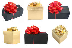 Golden and black gift boxes set Stock Image