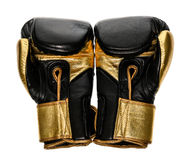 Golden and black leather leather boxing gloves isolated on white Stock Photography