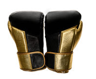 Golden and black leather leather boxing gloves isolated on white Stock Photos