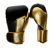Golden and black leather leather boxing gloves isolated on white Royalty Free Stock Photography