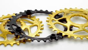 Golden and black oval bicycle chainring gear stock video footage