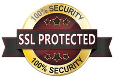 Golden red 100% security ssl protected badge with stars. Golden black and red metallic badge on white stock illustration