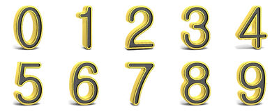 Golden and black round font. All numbers. 3D Stock Images