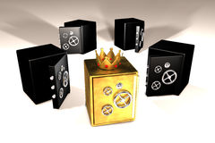 Golden and black safes. 3d illustration of golden and black safes Royalty Free Stock Image