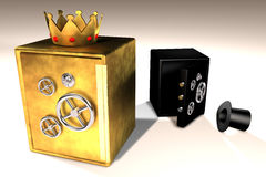 Golden and black safes Stock Photo