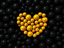 Golden and black spheres background. 3d render Royalty Free Stock Photography