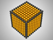Golden and black spheres or beads cube shape Stock Photos
