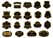 Golden and black vintage labels set Royalty Free Stock Image