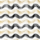 Golden and black wavy striped background Stock Image