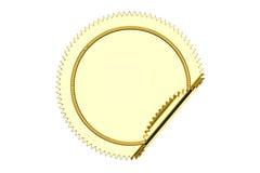 Golden blank circle sticker closeup, 3D rendering Royalty Free Stock Photo