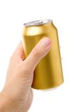 Golden blank soda can Royalty Free Stock Images
