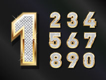 Golden Bling numbers. To be used in Business related to Luxury, Vintage and gold Royalty Free Stock Photography