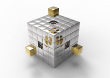 Golden blocks filling holes to build a big cube Stock Photography