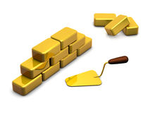 Golden Blocks Wall. A shiny wall made of golden blocks with a trowel. Symbol of the high cost of construction. 3D render on pure white background vector illustration