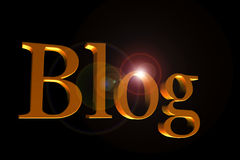 Golden blog header. Golden letters forming word blog on black Stock Photography