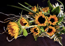 Golden Blooms. A bride's bouquet of sunflowers Stock Photography
