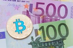 Golden blue bitcoin euro background. Bitcoin cryptocurrency. High resolution photo Stock Photos