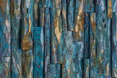 Golden and blue wood paint royalty free stock photography