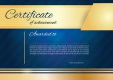 Golden Blue certificate stock illustration