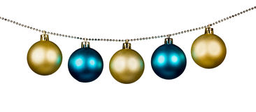 Golden and blue Christmas balls Stock Image