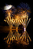 Golden and Blue Fireworks Royalty Free Stock Photo