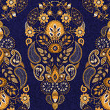 Golden and blue floral seamless pattern Royalty Free Stock Photography