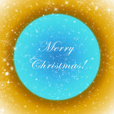 Golden and blue Merry Christmas greeting card with sparkling stars Royalty Free Stock Photo