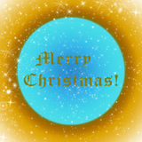 Golden and blue Merry Christmas greeting card with sparkling stars Stock Image