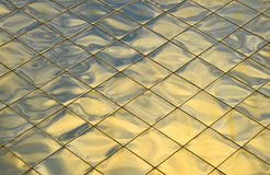 Golden blue metal roof tiles texture background Royalty Free Stock Image