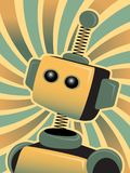Golden Blue Robot looks up swirly colorful Royalty Free Stock Images