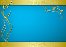 Golden and blue vector card with flora. Golden and blue card with flora - vector stock illustration